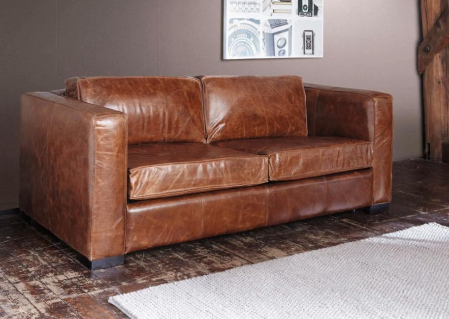 Sofá convertible de 3 plazas de cuero marrón envejecido