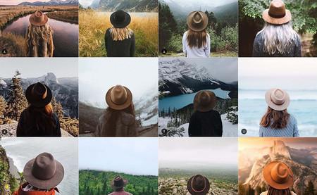 Mosaico de fotos idénticas (mujer de espaldas con un sombrero y un paisaje al fondo) publicadas por instagrammers.
