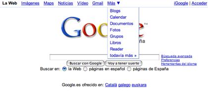Barra de navegación en las versiones locales de Google