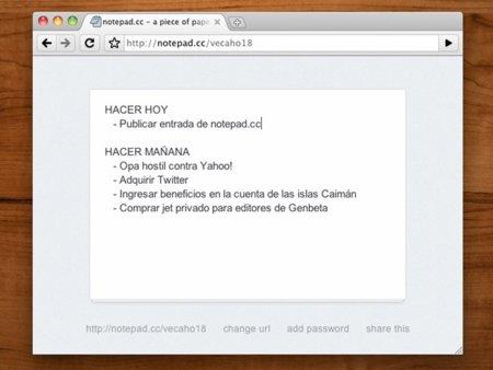 Notepad.cc, lo más simple y efectivo para gestionar notas o tareas en la nube