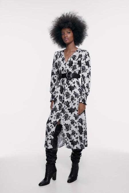 Zara Vestido Midi Estampado Floral 3