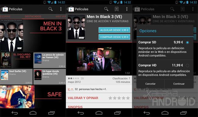 Google Play venta de películas