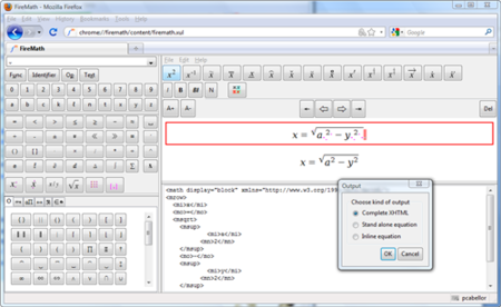 FireMath, editor de ecuaciones en MathML para Firefox