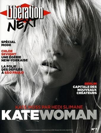 Kate Moss + Hedi Slimane en Libération marzo 2008
