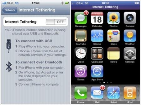 El iPhone OS 3.0 incluye soporte para compartir la conexión de datos con el ordenador