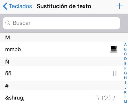 Lista Sustitucion Texto Iphone