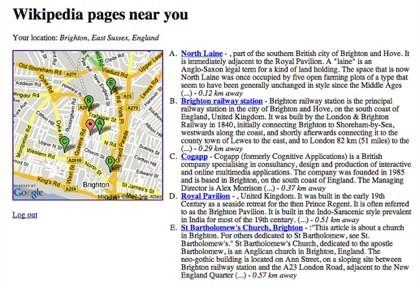 Wikinear, servicio de información sobre Yahoo Fire Eagle