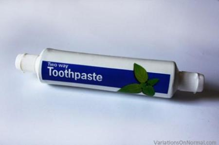 Two Way Toothpaste, tubo de pasta dentífrica doble