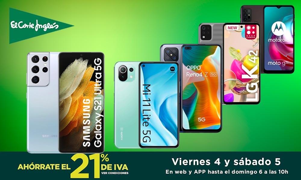 Estrenar smartphone te sale más barato si aprovechas los Días sin IVA de El Corte Inglés: 30 modelos de Samsung, Xiaomi, OPPO o LG superrebajados