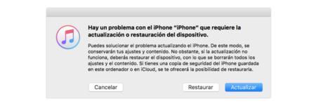 Mensaje de iTunes