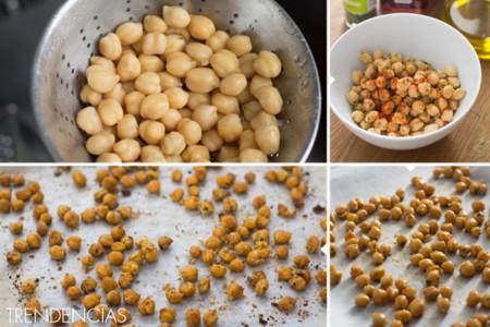 Garbanzos tostados picantes - elaboración