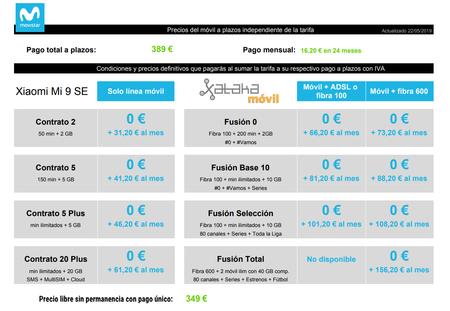 Precios Xiaomi Mi 9 Se Con Tarifas Movistar