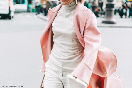 Pfw Paris Fashion Week Fall 2016 Street Style Collage Vintage Stella Mccartney Pink Coat
