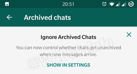 """WhatsApp para Android pronto tendrá el modo vacaciones, renombrado a """"ignorar chats archivados"""""""