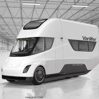 ¿Una autocaravana Tesla? Así imagina Vanlifer el camión eléctrico de Tesla convertido en vivienda móvil