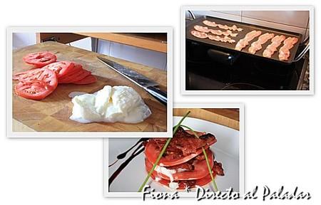 Elaboración del milhoja de tomate, mozzarella y bacon crujiente