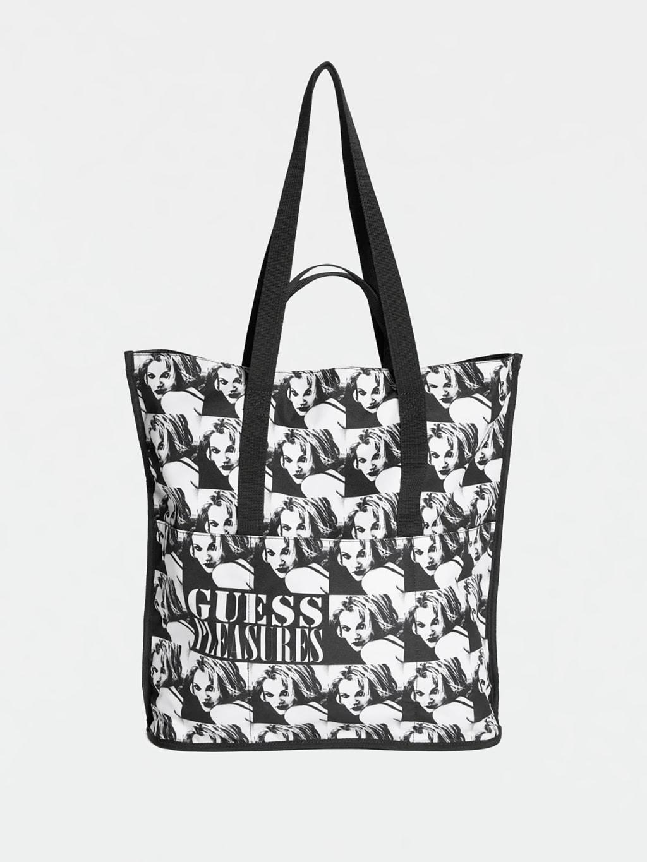 Bolso de tela con estampado a blanco y negro