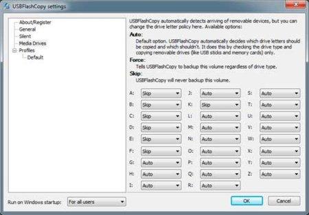 UsbFlash Copy diálogo de configuración de opciones