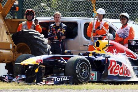 El alerón delantero de Sebastian Vettel llegó minutos antes de la clasificación