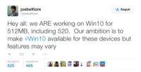 Las funciones variarán en los dispositivos de 512 MB con Windows 10