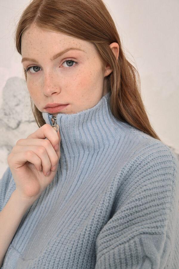 Jersey cuello alto cremallera mezcla lana