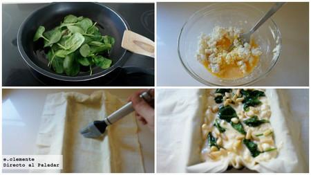 Tarta de espinacas, queso de cabra y piñones