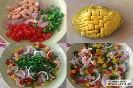 Ceviche de dorada y langostinos con mango. Pasos