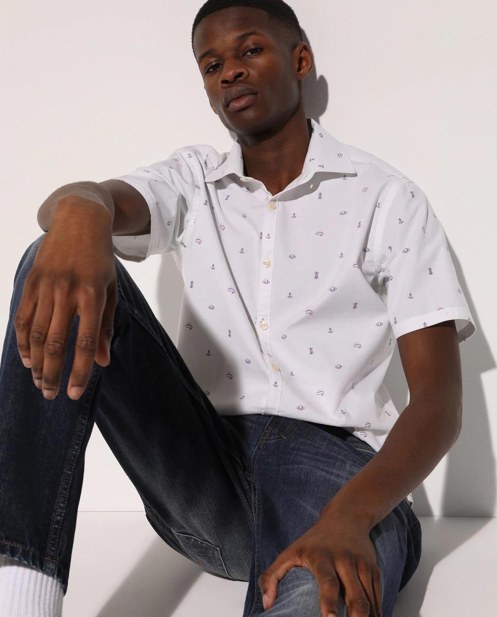 Camisa oxford de hombre slim estampada multicolor