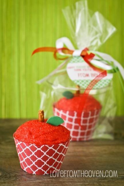 Regalo para las profesoras del nuevo curso: cupcakes con forma de manzana
