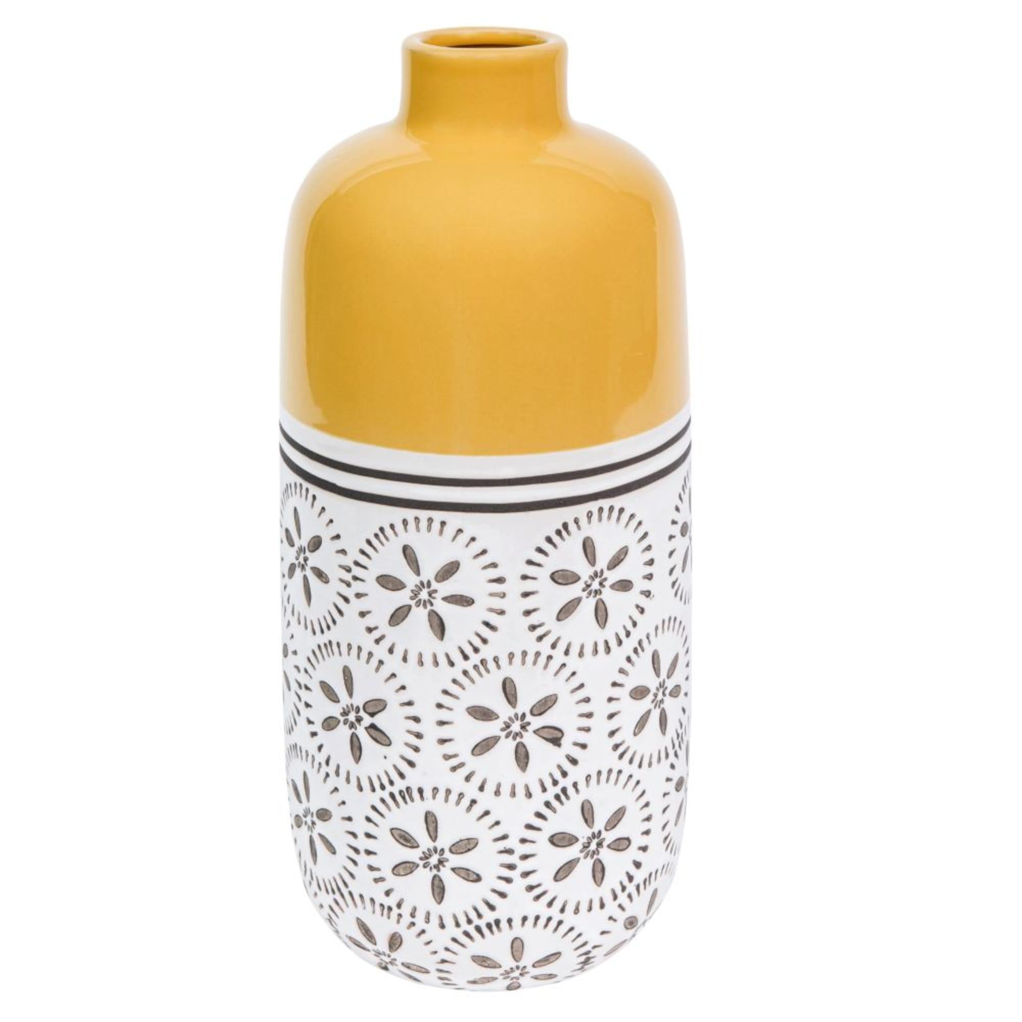 Jarrón de cerámica amarillo con motivos decorativos Alt. 30