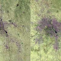 El salvaje crecimiento urbano de Delhi en los últimos treinta años, explicado en dos fotografías