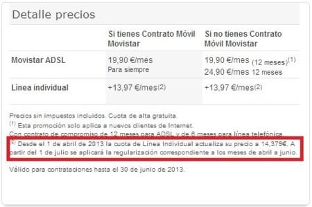 Movistar sube el precio del alquiler de línea con efecto retroactivo desde el 1 de abril
