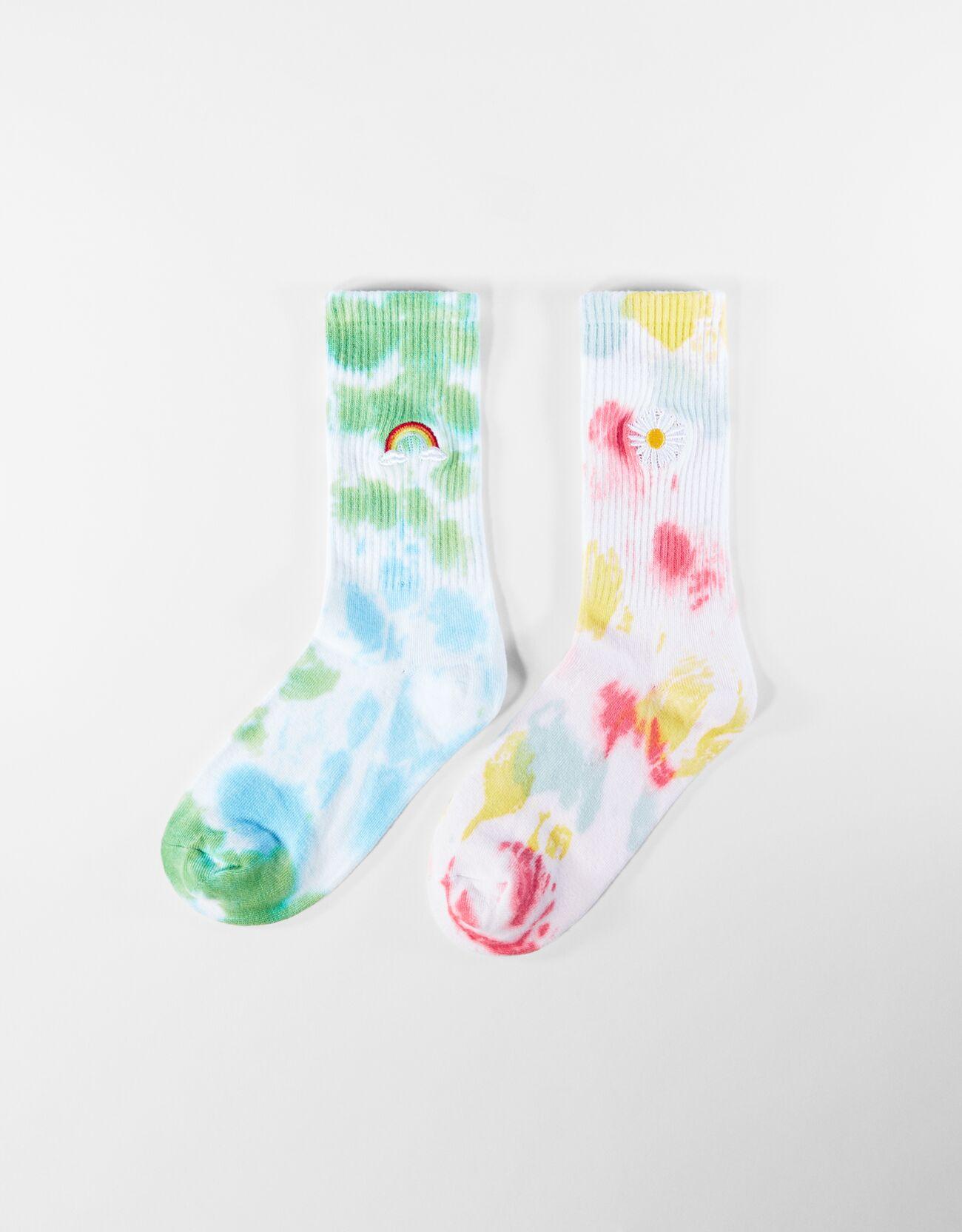 Pack 2 calcetines altos tie-dye bordado