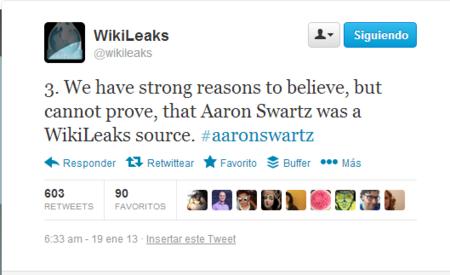 3 Wikileaks apunta a Aaron Swartz, como fuente propia. Las sospechas del caso se disparan
