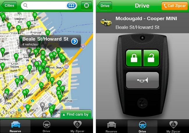 Zipcar smartphone app