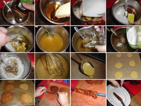 Preparación de los canutillo de miel y ron