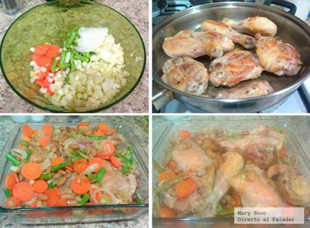 Pasos receta cacerola  de pollo y vegetales