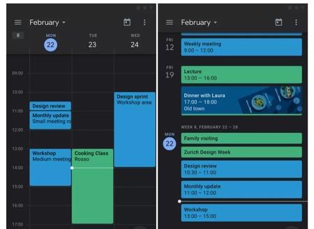 El modo oscuro de Google Calendar