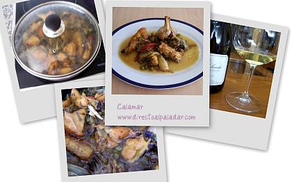 Pollo rustido con hortalizas, collage
