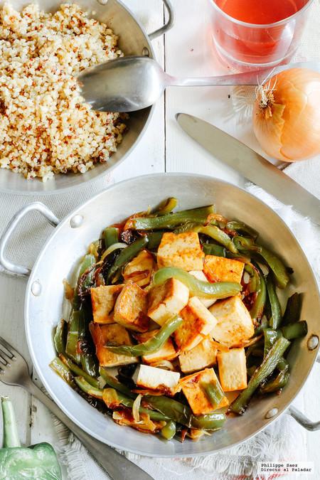 Tofu Asado Rajas Cebolla Recetas