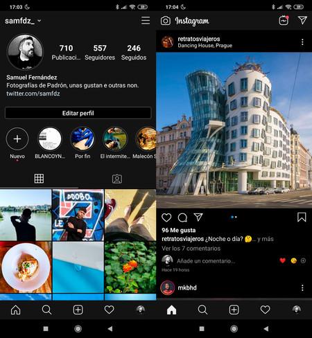 Perfiles Y Fotos en Instagram para Android con el modo oscuro