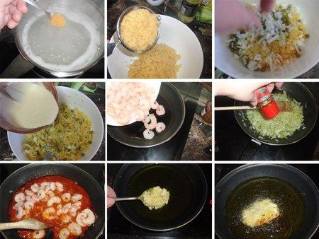 Gambas picantes con fritos de arroz. Receta