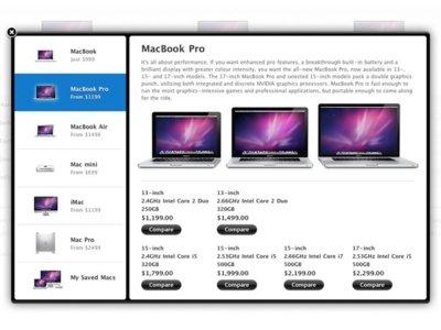 Novedades en la Apple Store: ahora podemos comparar varias configuraciones y precios de ordenadores al mismo tiempo