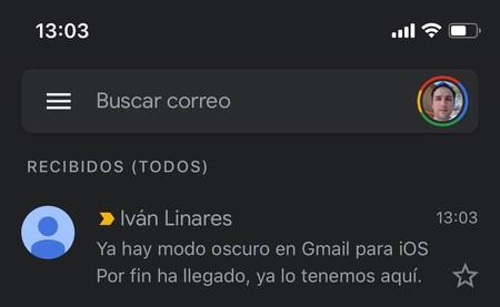 Gmail Modo Oscuro Ios