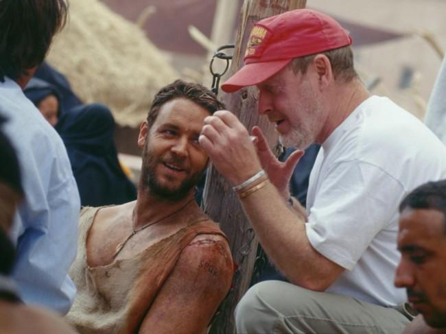 Russell Crowe y Ridley Scott durante el rodaje de Gladiator