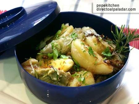 Salteado de patatas y alcachofas. Receta de guarnición