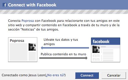 Conéctate a Poprosa con tu cuenta de Facebook