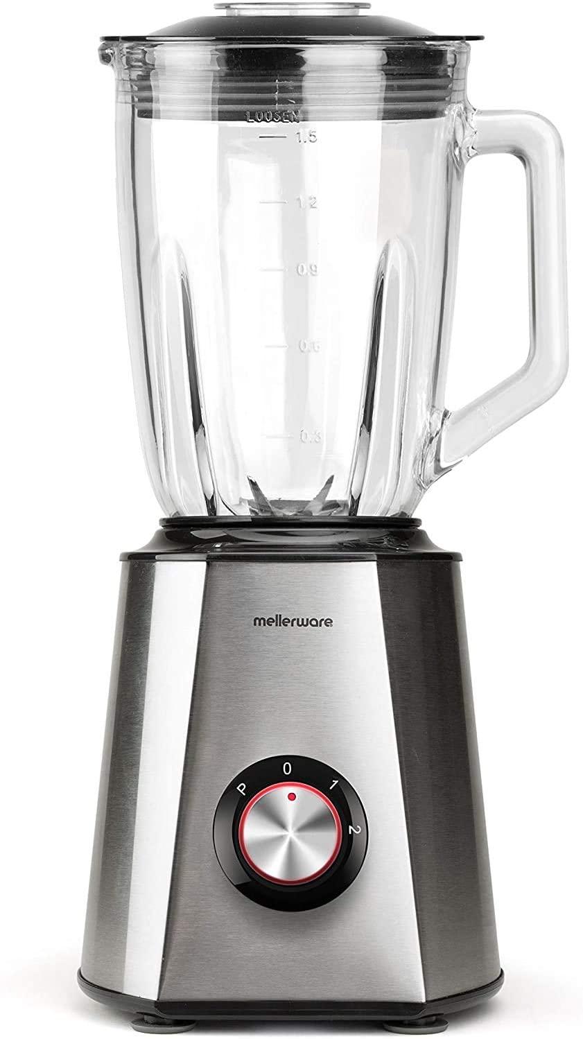 Mellerware | Batidora de vaso 1300W Potencia | Acero Inoxidable | Jarra cristal 1,5L | 2 velocidades + TURBO | 6 cuchillas de acero inoxidable | Pica hielo (Mixy)