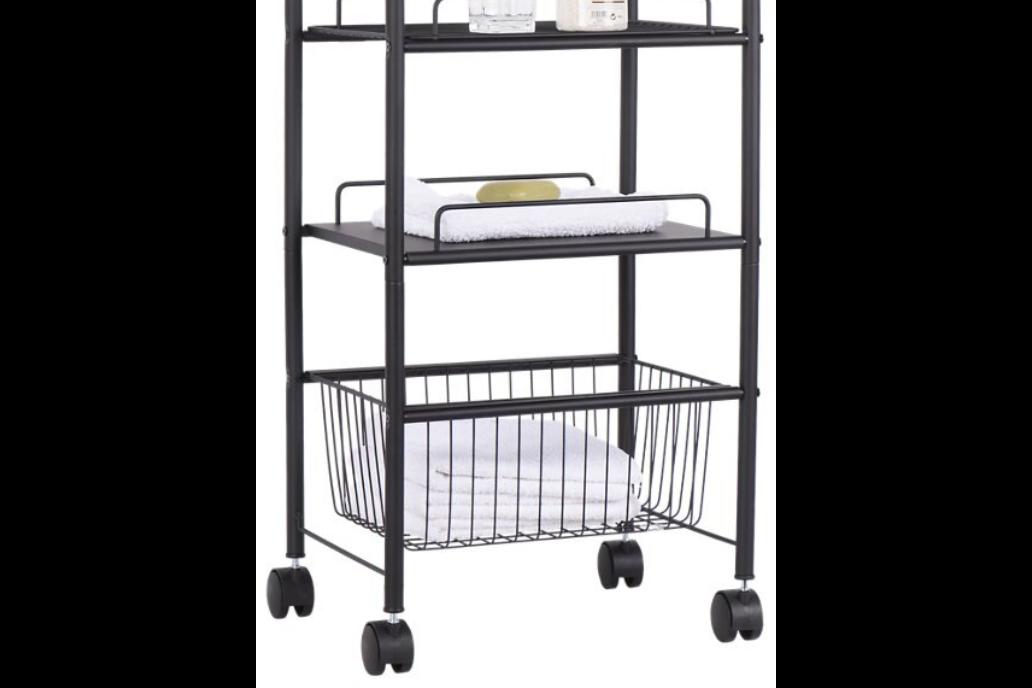 Bathroom trolley 2 shelves Credence black 32x75x41.3 cm