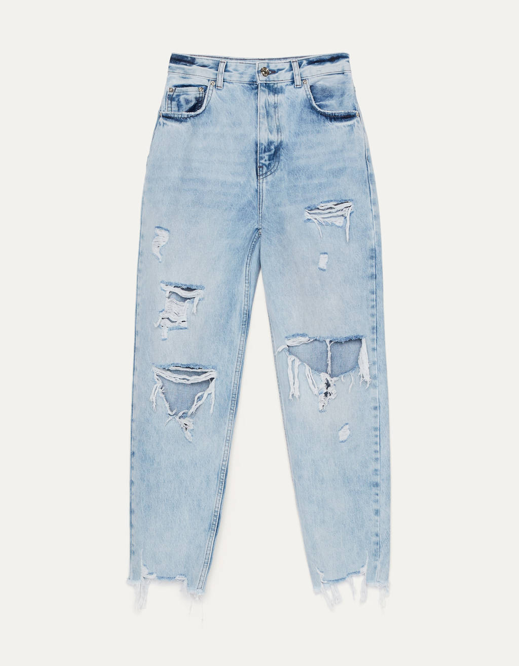 Jeans Mom Fit con rotos.